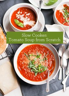 Slow Cooker Recipe: Tomato Soup from Scratch (plus Grilled Cheese with Pesto)   |   Design Mom  #crockpot