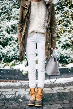 white jeans-fishermansweater-double jacket-army jacket-houndstooth glen plaid blazer-winter whites-duck boots-snow boots-via--