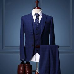 Royal Blue Plaid Tuxedo   #Clothing #external #Men'sFashion #Men'sSuits #Suits