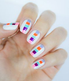 Mini Color Blocks Nail Art: What a super cool take on a color block mani!