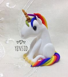 Polymer Clay Unicorn - Yensid Clay Projects For Kids, Ceramic Jewelry, Fairy Dolls, Shadow Box, Polymer Clay, Dinosaur Stuffed Animal, Unicorn, Wings, Ceramics