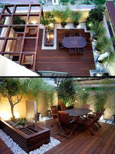 Terrassengestaltung Ideen - Holzboden und Holzmöbel