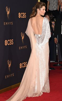JESSICA BIEL - tops off her shimmery draped Ralph & Russo gown with Forevermore jewelry - Emmys 2017