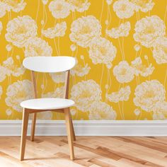 Peony Wallpaper - Yellow - Peel and Stick