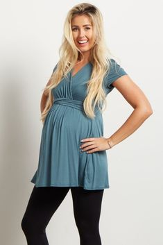 This draped front maternity top is everything we need this season. With a v-neckline to make nursing after pregnancy easy, and flattering cinching under the bust, this maternity top is the perfect piece for any transitional mom. Nursing Wear, Nursing Tops, Maternity Nursing, Maternity Tops, Maternity Style, Nursing Clothes, Maternity Dress Outfits, Stylish Maternity, Maternity Fashion