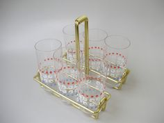 Rare,Hungarian glass barware,6 wine glasses on rack by GraceVintageDesigns on Etsy