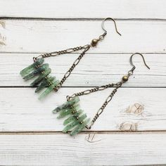 Green Kyanite Earrings  Long Kyanite Earrings  by MarleeCWatts