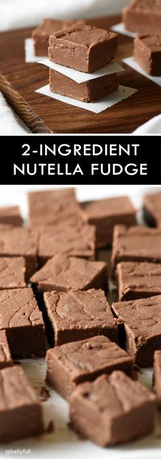 This 2-Ingredient Nutella Fudge only takes 5 minutes to make and it's crazy good! Great treat for parties or as a gift!