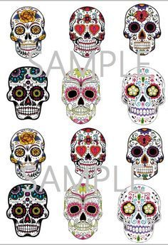 Sugar Skull Cupcake Toppers Birthday Party by Skull Cupcakes, Sweet 15, Sugar Skulls, Party Printables, Cupcake Toppers, New Tattoos, Sleeve Tattoos, Tattoo Ideas, Birthday Parties