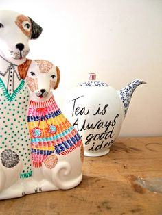 RESERVED LISTING for Molly Ceramic dogs hand by JessQuinnSmallArt