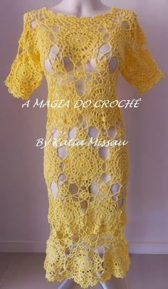 Olá amigas!!   Vamos começar a semana de amarelo?   Vim mostrar esse lindo vestido, com motivos rendados na cor amarelo.   Utilizei fio...