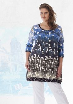 EXELLE SPRING 2017 - chaotic prints, mix&match prints. A-line tunic available at www.exelle.com
