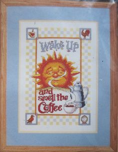 Smell the Coffee Counted Cross Stitch Kit Janlynn 1999 Sealed Counted Cross Stitch Kits, Wake Up, Counting, Picture Frames, Seal, Coffee, Bright, Things To Sell, Portrait Frames