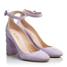 Fratelli Karida - Purple suede leather block flower embossed leather... (€214) ❤ liked on Polyvore featuring shoes, pumps, lilac, purple shoes, purple pumps, flower pumps, block-heel pumps and leather shoes