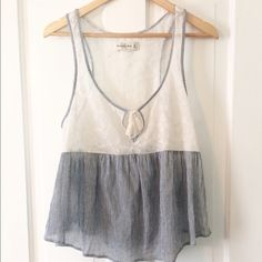 Beautiful light tank Abercrombie light weight tank, off white with blue stripes. Size medium. Excellent condition!! It is sheer! Abercrombie & Fitch Tops Tank Tops