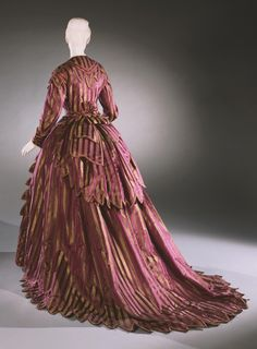 1870 - Woman's Day Dress: Bodice, Skirt, and Bustle Drape