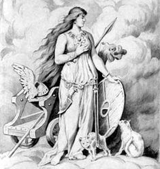 Freya, Norse Goddess of love, beauty, fertility, war, wealth, divination and magic.  Freya rules over her heavenly afterlife field Fólkvangr and there receives half of those that die in battle, whereas the other half go to the god Odin's hall, Valhalla.