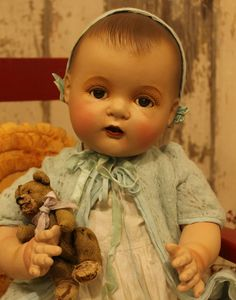 """23"""" old Composition and Cloth Dionne Quintuplet baby Doll, Largest size made"""