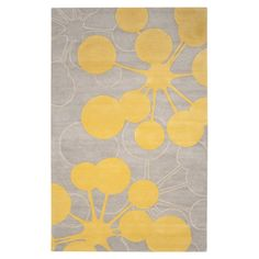 Bubble Grey & Yellow Rug by Jef Designs
