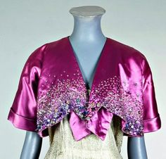 Bolero, Elsa Schiaparelli, via Kerry Taylor Auctions. Elsa Schiaparelli, Vintage Gowns, Mode Vintage, Vintage Outfits, Vintage Pink, Vintage Clothing, Vintage Style, 1930s Fashion, Vintage Fashion