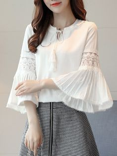 Solid Color Pleated Bell Sleeve Chiffon Shirt