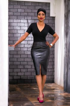 Timeless Leather Pencil Skirt - Fashionable Step Mum Step Mum, Black Skirts, Piece Of Clothing, Thigh High Boots, Every Woman, Thigh Highs, Kenya, Street Fashion, Leather Skirt