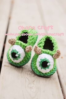 Mike Wazowski Booties - Monsters Inc.  I wish I could find someone to makes these is Monster Man's size!