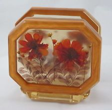 Vintage Lucite Napkin/Letter Holder Dried Wildflowers Retro