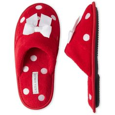 Laura Ashley Embroidered Polka Dot Slippers ($7.99) ❤ liked on Polyvore featuring shoes, slippers and red
