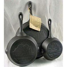Old Mountain Cast Iron Preseasoned 3pc Skillet Set