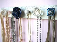 Homemade coat, purse or necklace rack.