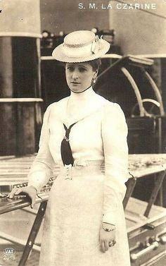 """Empress Alexandra Feodorovna of Russia on board the Imperial Royal yacht,the Standart.  """"AL"""""""