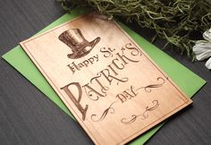St Patricks Day Wood Card - Irish Cards - Saint Patrick's Day Wood Card by Tri~Elegance. #trielegance