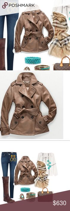COACH ALEXIS Leather Short Trench Coat 86434 New NWT - New COACH Alexis soft Leather Short Trench Coat F86434 D41 82384 Size: XS (2) Color: Dark Camel.   100% Lamb Leather / Sleeve Lining:100% Polyester / Body Lining:100% Cotton MSRP-$1198 Gorgeous buttery soft leather coat. New with tags. Incredible quality Coach is known for. Similar to Dylan but better.                   New with Tags! Coach Jackets & Coats Trench Coats
