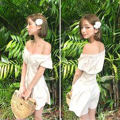 Sweet Off-Shoulder Dress uploaded by Amber P on We Heart It