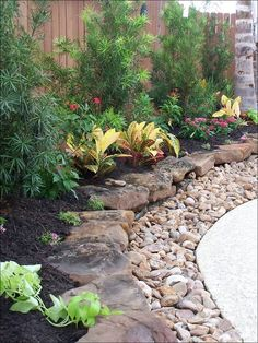 """stone with gravel edging   rocks with gravel to edge plant beds. Could do landscape flat """"stones ..."""
