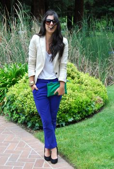 Bright colors make this tailored look young and fun. Also the laughing helps.