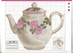 tea pot Cross Stitch Love, Cross Stitch Kitchen, Cross Stitching, Cross Stitch Embroidery, Cross Stitch Patterns, Knitting Charts, Bule, Stitch 2, Tea Pots