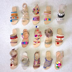 Handmade Greek Sandals Boho style, pom poms, ethnic trims, charms, made to order! Boho Sandals, Greek Sandals, Flat Sandals, Shoes Sandals, Diy Leather Sandals, Flats, Boho Fashion, Fashion Shoes, Natural Leather