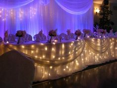 Head table & back drop - lights below table and behind back drop