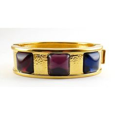Monet Gold Plated Clamper with Red Purple & by Gatewaytovintage