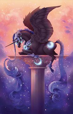 Nightmare Moon (my little pony) Mystical Animals, Mythical Creatures Art, Mythological Creatures, Magical Creatures, Horse Drawings, Cute Animal Drawings, Drawings Of Unicorns, Wolf Drawings, Drawing Animals