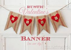 Thoughts from Alice: Rustic Valentine's Love Banner {No-Sew DIY} Upholstery webbing, red felt, Scrabble tiles, twine...
