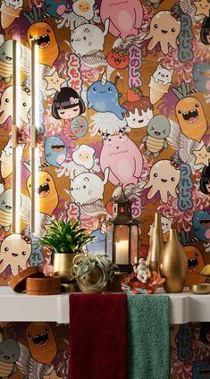 Joyeuse et colorée, la faïence Kawaii est un remède antimorosité à utiliser sans complexe pour les murs de sa cuisine ou de sa salle de bain !    #carrelage #kawaii #salledebain Kawaii, Beautiful Homes, Wallpapers, Bright, Curtains, Prints, Collection, Wall Tiles, House Of Beauty