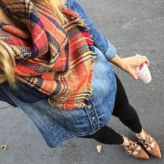 Plaid orange scarf, chambray shirt fall outfit idea