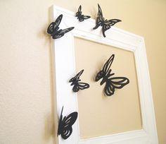 10 3D Wall Butterflies, 3D Butterfly Wall Art, Paper, 3D Wall Decor, Black, Wedding Decor,Shower, Girls Room, Cardstock, Eco-friendly