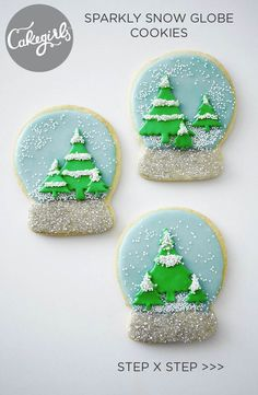 Shake things up with these sparkly snow globe cookies | Cakegirls Step x Step