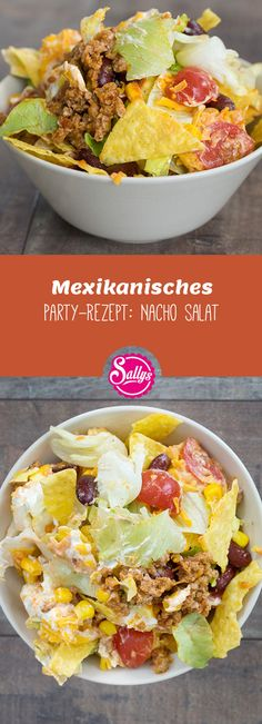 Super leckeres Partyrezept: dieser Nacho-Salat besteht aus mehreren Komponenten,… Super delicious party recipe: this Nacho salad consists of several components, can be prepared excellently and is well suited as a main course. Lime Chicken Tacos, Baked Chicken Tacos, Chicken Taco Recipes, Easy Baked Chicken, Soup Recipes, Healthy Recipes, Healthy Lunches, Slow Cooker Shredded Chicken, Mexican Shredded Chicken