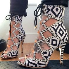 Tribal Print Cut Out Booties
