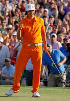 Rickie Fowler takes the win as he makes the birdie putt during the first payoff hole at the Wells Fargo Championship